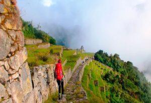 trekker arriving to Machu Picchu