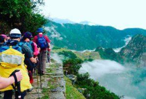 tourist getting closer to Machu Picchu